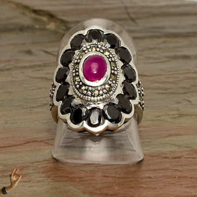 Priced to Sell - Onyx and Ruby Marcasite Oval Sterling Silver Ring