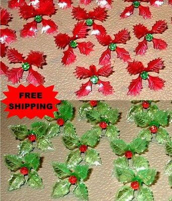 12 Holly Poinsettia Bulbs for Ceramic Christmas Tree Red & Green **FREE SHIP**