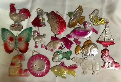 antique vintage dresden type christmas ornaments lot of 17 some animals