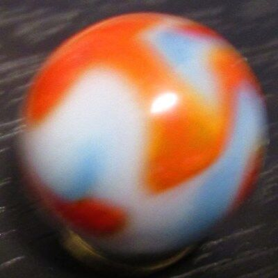 Akro Agate Swirl Opaque White Sky Blue Base + Red Orange & Teal Ribbons 9/16""