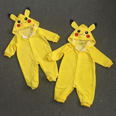 Kids Boy Girl Rompers Pokemon Pikachu Clothes Outfits Jumpsuit Playsuit Bodysuit