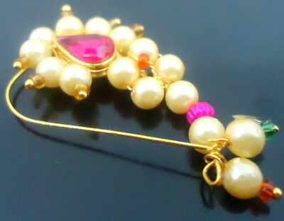 Hot Pink Off White Pearl Gold Tone Traditional Marathi Nose Ring Nath Jewelry