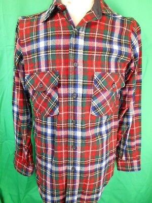 Vintage 70s 80s Red Green Plaid Wool Woolrich USA Made Outdoor Winter Shirt S