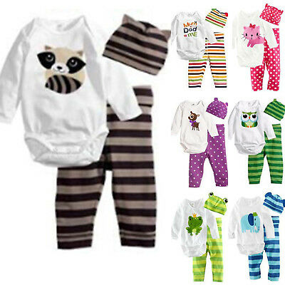 3pcs Kids Baby Boy Girl Romper Long Pants Hat Animal Printed Outfits Set Clothes