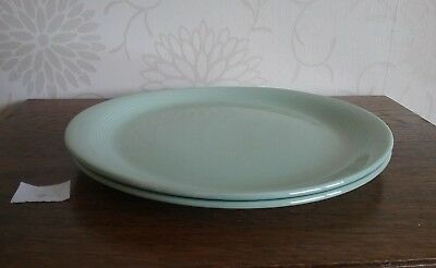 Pair of Woods ware Beryl green 10.6  x  9.5 inches oval steak plates dinner