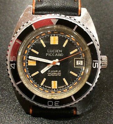 Rare Vintage Diving Driver Watch Lucien Piccard 17 Jewels Automatic Swiss Made.