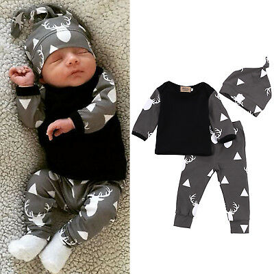 3Pcs Kids Baby Boys Deer T-shirt Top Long Pants Trousers Hat Outfits Clothes Set