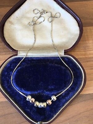 """Beautiful Italian 18"""" Marked Sterling Silver Touch Of Gold Chain Necklace 6.4gr"""