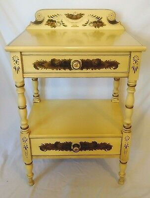 Antique L. Hitchcock Yellow Maple Stenciled 2 Drawer Nightstand Bedside Table