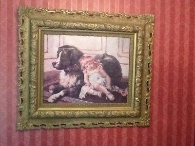 Gorgeous Antique Victorian Picture with Heavy Ornate Frame