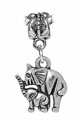 3 Large Elephant Zoo Africa Charms Pendants Craft DIY Antique Silver 39x39 2561