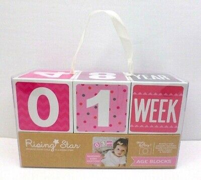 Rising Star Milestone Age Blocks Baby Toddler Girl Photography Prop Photo Pink