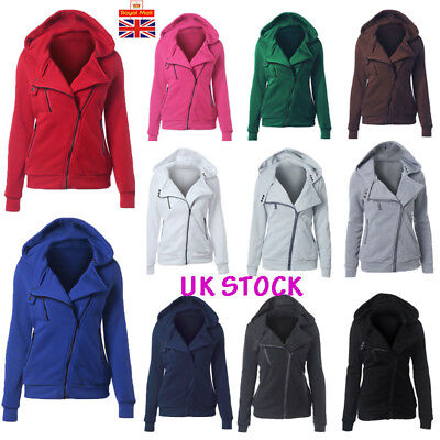 UK Womens Winter Warm Hoodies Ladies Casual Hooded Coat Zip Up Jacket Plus Size
