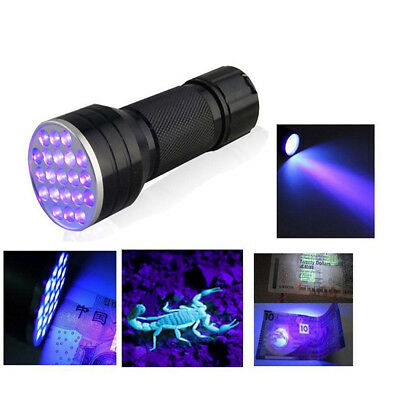 Detection Ink Marker Aluminium Invisible Blacklight 21 LED UV Ultra Violet