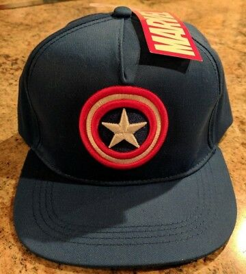 NWT Marvel Captain America Baseball Cap Snapback Blue Hat Shield Emblem