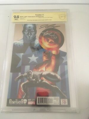 Punisher # 1 2016 Captain American 75th Anniversary Variant Signed 2x