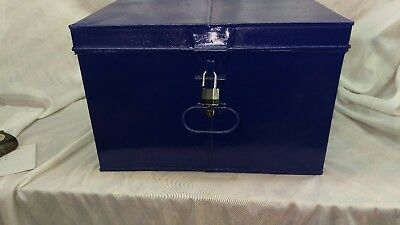 Vintage Renovated Deed Box In Blue