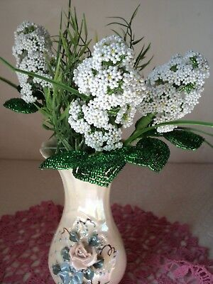 Vintage Handmade Glass Beaded Flowers +Gift
