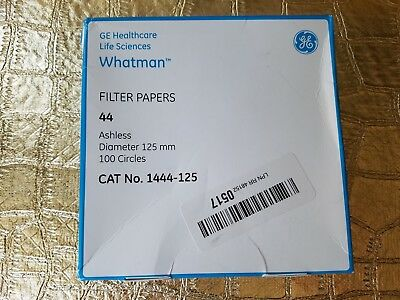 GE Whatman Filter Papers #44 Ashless 125mm 100 Count 1444-125