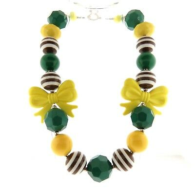 Bright Green and Yellow Acrylic Bead and Bow Necklace Strand