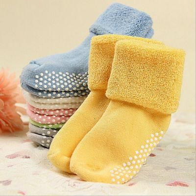 1-3 Years Old Winter Cotton Baby Socks Antiskid Socks Toddler Solid Color Warm