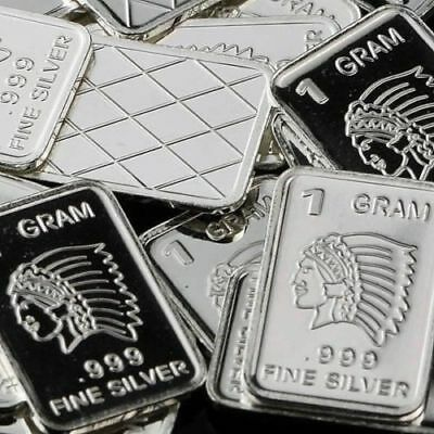 Indian Chief Design. Lot of 10, 1 gram .999 Fine silver bullion bar.