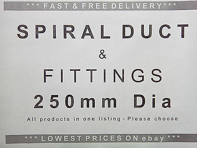 Spiral ducting & fittings 250mm dia, ventilation, extractor fan, hydroponics