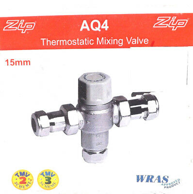 ZIP AQ4 THERMOSTATIC MIXING VALVE 15mm TMV2 TMV3 FREE DELIVERY VAT INCLUDED
