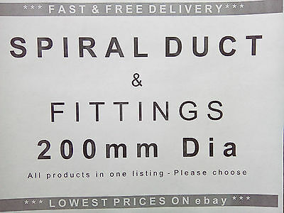 Spiral ducting & fittings 200mm dia, ventilation, extractor fan, hydroponics