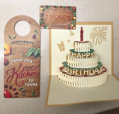 Gift Card $50 3D Birthday Carrabbas Bonefish Grill Outback  Steakhouse Flemings