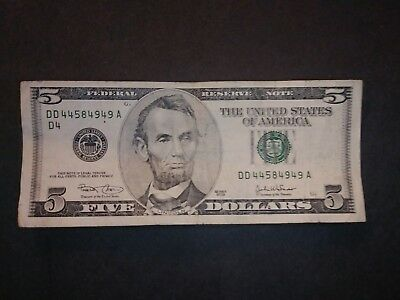 US Series 2003 $5 Bill Circulated CLEAN Federal Reserve Note DD44584949A D4 G 2K