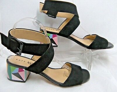 fe8c93ba7 Katy Perry The Margot Block Heeled Sandals Sz 7 Black Suede Ankle Wrap  Strap  JS