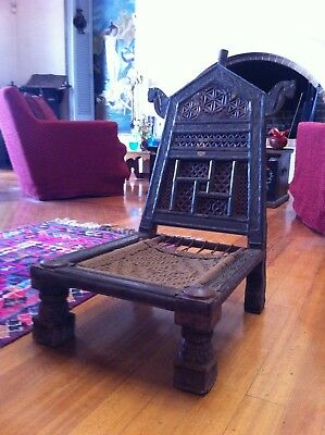 Antique Middle Eastern Chair Folding Low Chair Brass & Metal Ornamentation