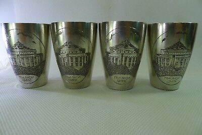 rare set of four solid silver Russian hallmarked very beautiful vintage cups