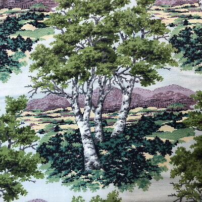 Vtg Barkcloth Fabric A PURITAN VAT PRINT 2 Yards BIRCHTREE Trees/Green GORGEOUS!