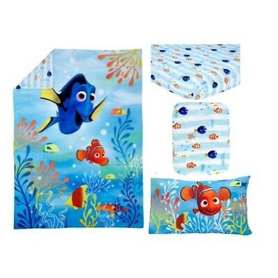FINDING DORY - Finding Nemo 4 Pc Toddler Bed Set Comforter Sheets Pillowcase