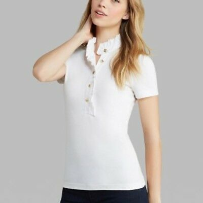 f2ca4fa9219 NEW TORY BURCH Lidia short sleeve polo t-shirt size L Large white ...