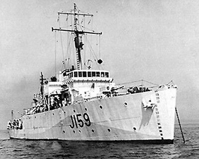 Royal Canadian Navy Minesweeper Hmcs Mahone J159 With Stats And History Sheet