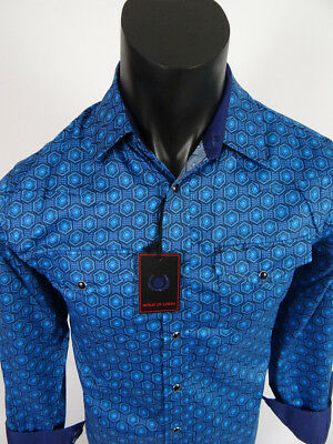 Mens House Of Lords Shirt Slim Fit Western Style Snaps Pockets Blue Shade Prints