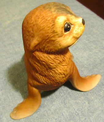 SIGNED R. J. Brown Baby Seal - Akiku - No. 9929 Bisque Porcelain Figurine