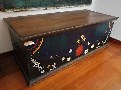 Antique Vintage Hand Painted Trunk Chest Large Folk Art Box 42,5""