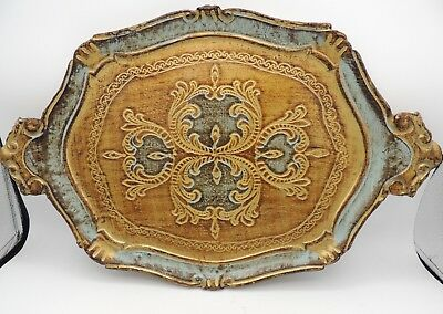 Vintage Italy Florentine Gilt Tray Gold Light Blue Lugged Handles