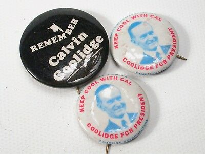 Fantasy Keep Cool With Cal Calvin Coolidge Union Made Pinback Buttons USA