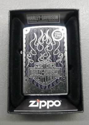 Zippo Full Size Harley-Davidson Logo Windproof Lighter AUTH 29157 Flames Engrave
