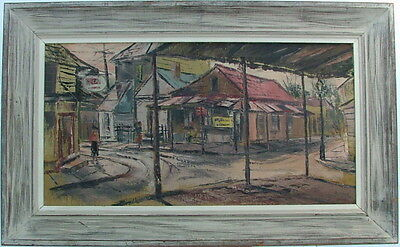 Stanley Sobossek 1918-1996 Ashcan School Early New Hope Oil Painting Town Scene