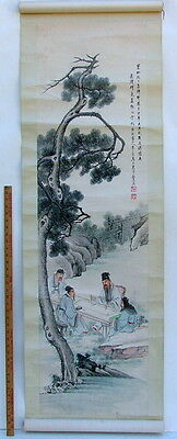 Chinese Scroll Literati Master Teaching Ink & Color Painting Poetry Large