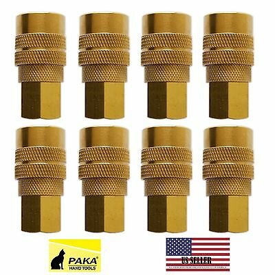"""8 Pc- Industrial Solid Brass Air Quick Couplers 1/4"""" Npt Female"""