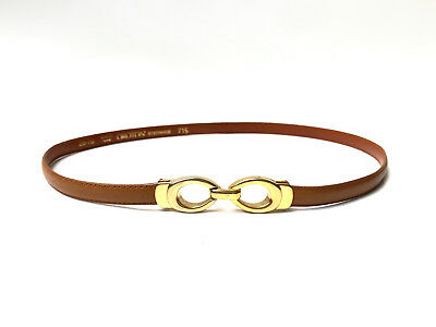 OROTON!!! Vintage 1970s 'Oroton' tan leather skinny belt with gold clasp