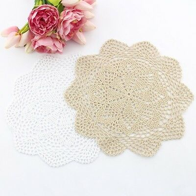 Crochet doilies white and cream 28 - 30 cm for millinery and crafts