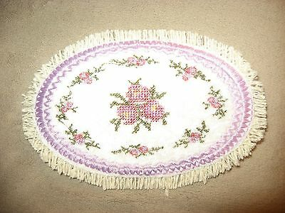 Pretty Oval Victorian Pink  Roses Mini Miniature Dollhouse Rug Edged In Lavender